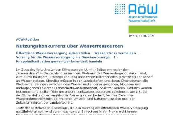 AöW veröffentlicht Position zu Nutzungskonkurrenz über Wasserressourcen