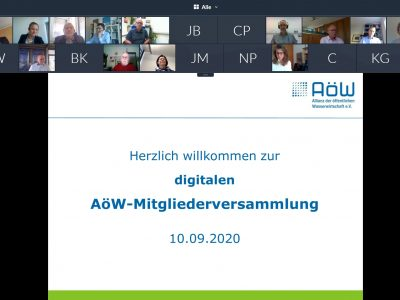 Erste digitale AöW-Mitgliederversammlung wählt Franz-Xaver Kunert ins Präsidium