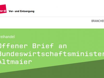 """ver.di: Offener Brief von ver.di-Vorsitzendem Frank Bsirske an Bundeswirtschaftsminister Altmaier """"JEFTA in der derzeit vorliegenden Form nicht zustimmungsfähig"""""""